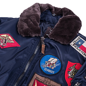 Фото: Бомбер Top Gun Official B-15 Flight Bomber Jacket with Patches (синій)